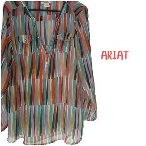 ARIAT LARGE Women's long sleeve sheer blouse